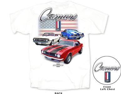 Camaro American Flag T-Shirt White 2X-LARGE