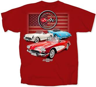 Chevrolet Corvette C1 American T-Shirt Red 3X-LARGE DISCONTINUED