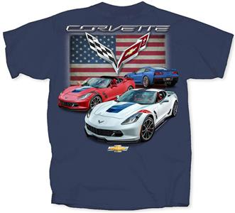 Chevrolet Corvette C7 American T-Shirt Blue LARGE