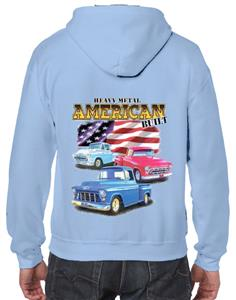 Chevy Trucks - Heavy Metal American Built Hoodie Light Blue X-LARGE