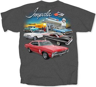 Chevrolet Impala Garage T-Shirt Charcoal Grey LARGE