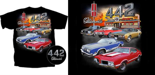 Oldsmobile 442 Diner T-Shirt Black LARGE