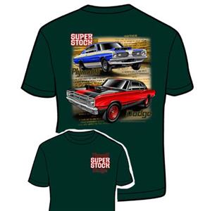 Dodge And Plymouth Super Stock T-Shirt Green 2X-LARGE