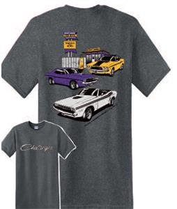 Dodge Challengers 3 Gas Station T-Shirt Grey LARGE