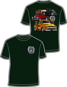 Ford 3 Trucks T-Shirt Green SMALL DAMAGED