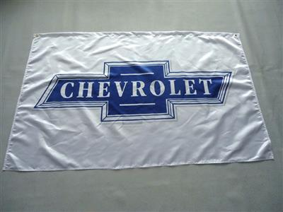 Chevrolet Bowtie Flag Blue on White 150x90cm