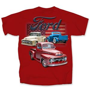 Ford Antique Trucks Flag T-Shirt Red 3X-LARGE