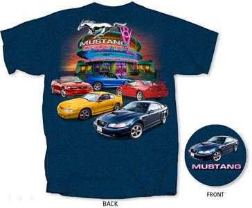 Ford Mustang 1994-2004 4th Generation T-Shirt Blue 3X-LARGE
