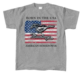 Ford Mustang Born In The USA Flag T-Shirt Grey SMALL
