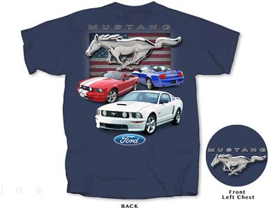 Ford Mustang 2005-09 Collection T-Shirt Blue MEDIUM