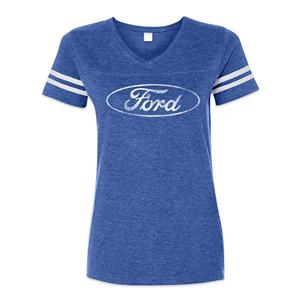 Ford Oval Striped Football-Style T-Shirt Blue LADIES LARGE