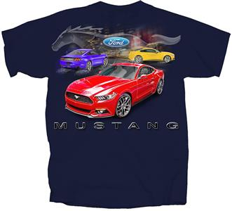 Mustang 2015 - 3 Mustangs Clear Pony T-Shirt Navy Blue 2X-LARGE