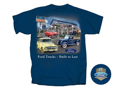 Ford Trucks - Built To Last T-Shirt Midnight Blue LARGE