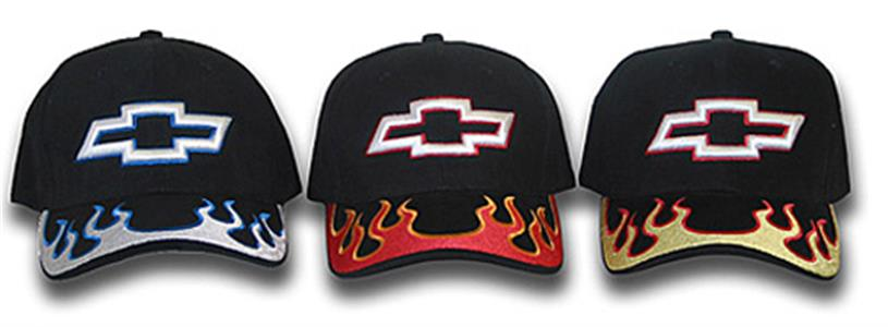 Chevrolet Bowtie Inferno Cap Black With Yellow Flames