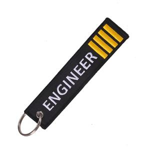 Engineer Embroidered Tab Keyring White/Yellow On Black