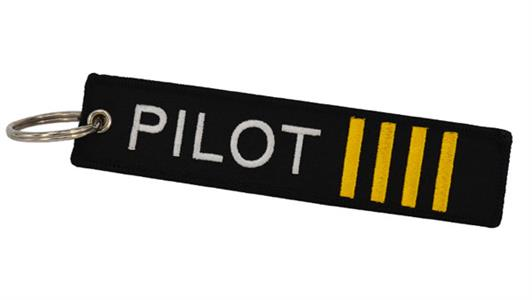 Pilot Embroidered Tab Keyring White/Yellow On Black
