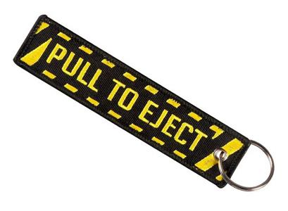 Pull To Eject Embroidered Tag Keyring Yellow On Black