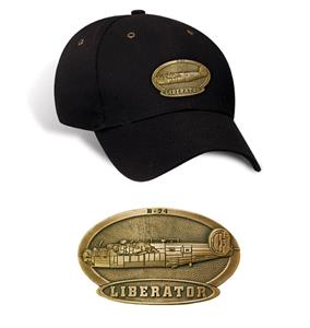 B-24 Liberator Brass Badge Cap Black
