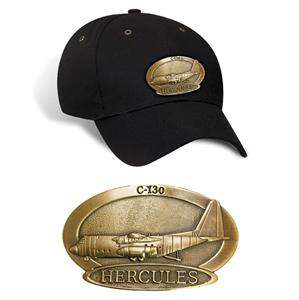 Hercules C-130 Brass Badge Cap Black