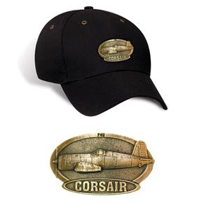 F-4U Corsair Brass Badge Cap Black