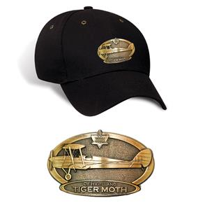 De Havilland Tiger Moth Brass Badge Cap Black