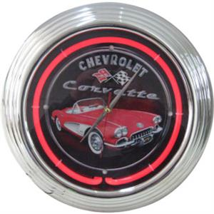 Chevrolet Corvette Neon Clock - Black Background With Car