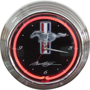 Ford Mustang Neon Clock - Red Neon