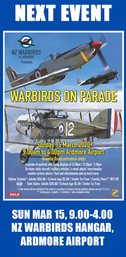 Next event: Warbirds On Parade, Sunday March 15th, 9.00 to 4.00, Ardmore Airport