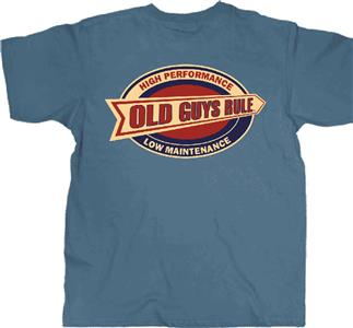 Old Guys Rule High Performance Low Maintenance T-Shirt Blue LARGE