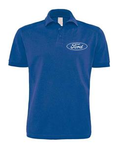 Ford Oval (White) Polo Shirt Royal Blue LARGE