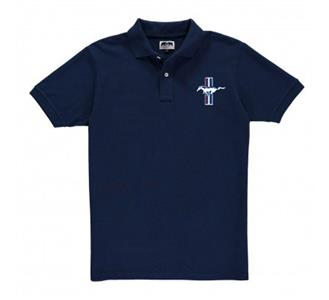 Mustang Badge Polo Shirt Navy Blue 2X-LARGE