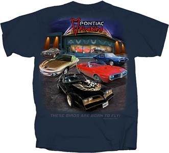 Pontiac Firebird Showroom T-Shirt Blue LARGE