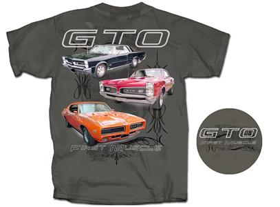 Pontiac GTO First Muscle T-Shirt Charcoal Grey LARGE