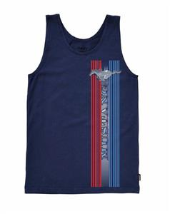 Mustang Pony & Stripes Singlet Navy Blue LARGE