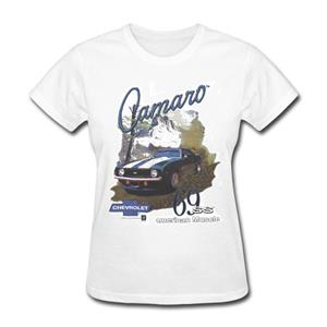 Camaro 69 SS American Muscle T-Shirt White LADIES LARGE