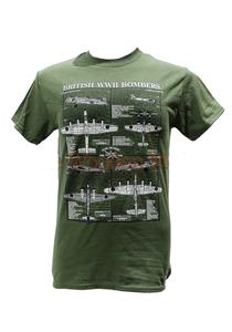 British WWII Bombers Blueprint Design T-Shirt Olive Green MEDIUM