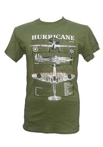 Hawker Hurricane Blueprint Design T-Shirt Olive Green LARGE