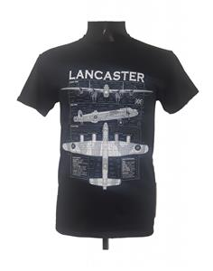 Lancaster Blueprint Design T-Shirt Black LARGE