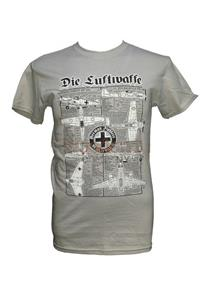 Die Luftwaffe - German WW2 Fighters Blueprint Design T-Shirt Grey 2X-LARGE