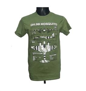 De Havilland DH.98 Mosquito Blueprint Design T-Shirt Olive Green 2X-LARGE
