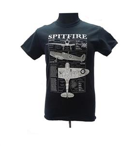 Spitfire Blueprint Design T-Shirt Black LARGE