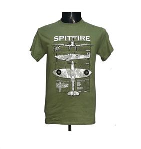Spitfire Blueprint Design T-Shirt Olive LARGE