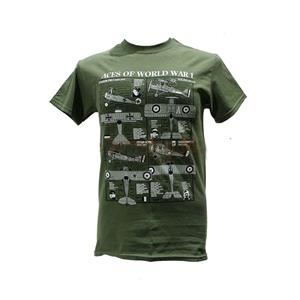 Aces Of World War 1 Blueprint Design T-Shirt Olive Green LARGE
