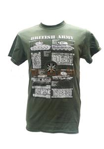 British Army Tanks Blueprint Design T-Shirt Olive Green MEDIUM