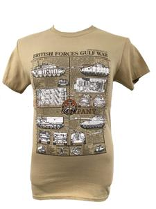 British Forces Gulf War Land Vehicles Blueprint Design T-Shirt Sand X-LARGE