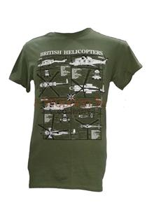 British Helicopters Blueprint Design T-Shirt Olive Green LARGE