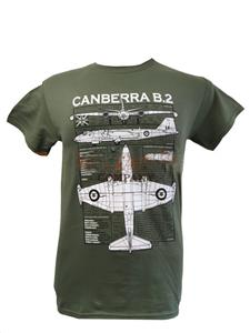 English Electric Canberra Blueprint Design T-Shirt Olive 2X-LARGE