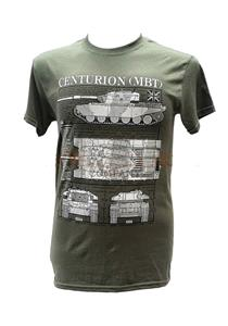 Centurion Main Battle Tank Blueprint Design T-Shirt Olive Green 2X-LARGE
