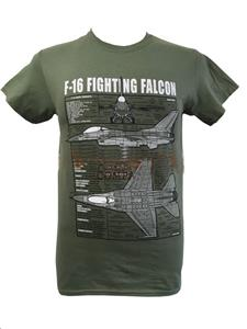 Lockheed Martin F-16 Fighting Falcon Blueprint Design T-Shirt Olive 3X-LARGE