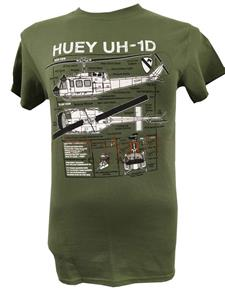 Huey UH-1D Helicopter Blueprint Design T-Shirt Olive Green 2X-LARGE